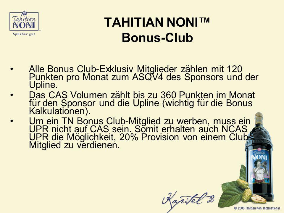 Alle Bonus Club-Exklusiv Mitglieder zählen mit 120 Punkten pro Monat zum ASQV4 des Sponsors und der Upline.
