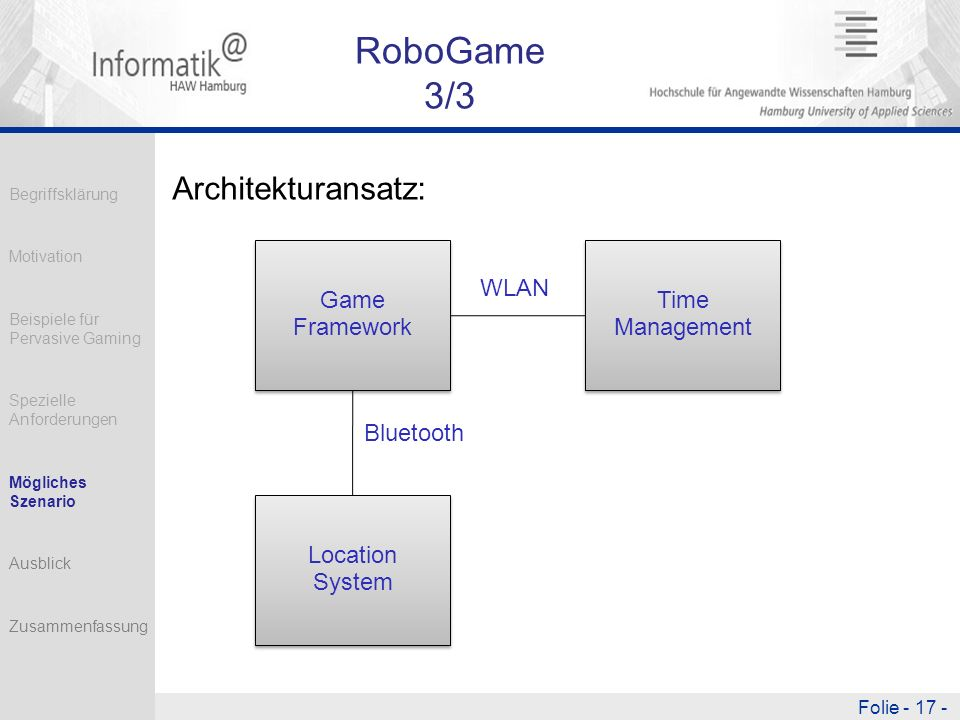 Folie - 17 - RoboGame 3/3 Architekturansatz: WLAN Bluetooth Game Framework Location System Time Management Begriffsklärung Motivation Beispiele für Pe
