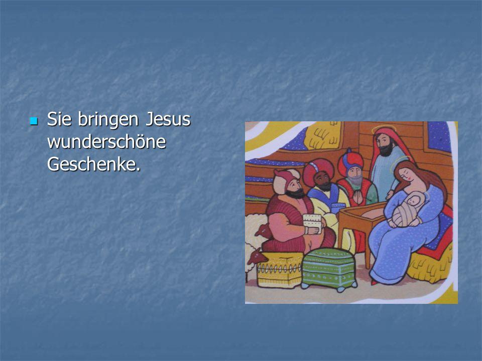 Sie bringen Jesus wunderschöne Geschenke. Sie bringen Jesus wunderschöne Geschenke.