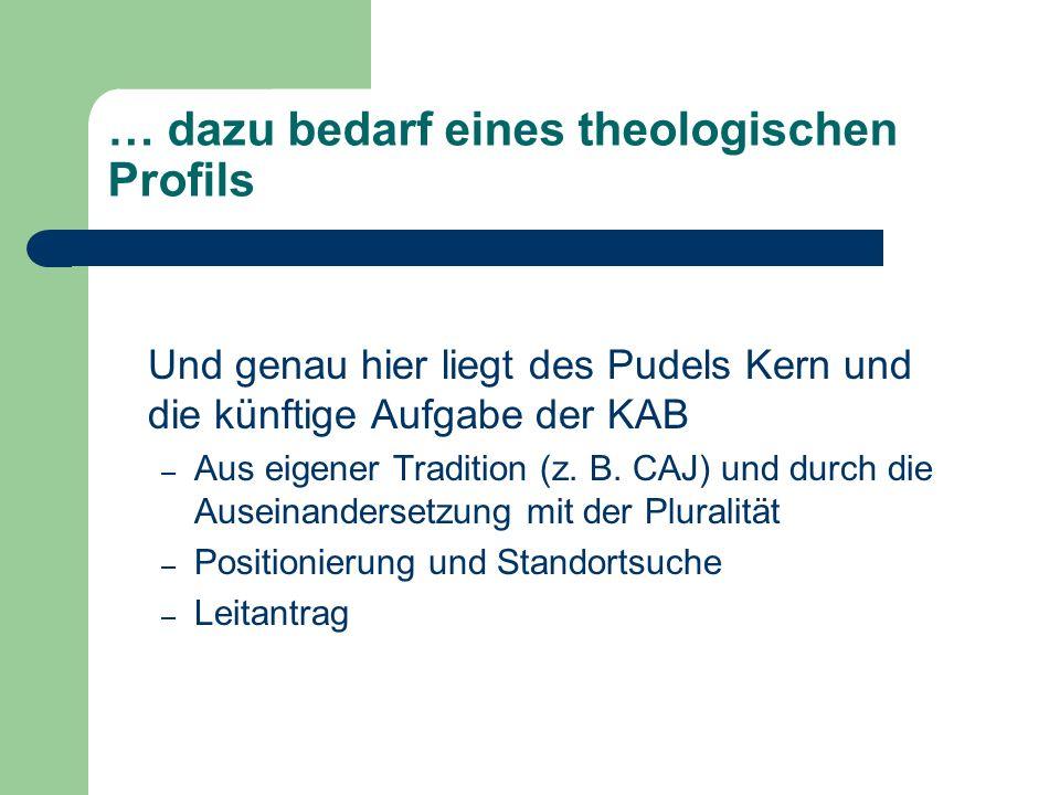 … dazu bedarf eines theologischen Profils Und genau hier liegt des Pudels Kern und die künftige Aufgabe der KAB – Aus eigener Tradition (z. B. CAJ) un