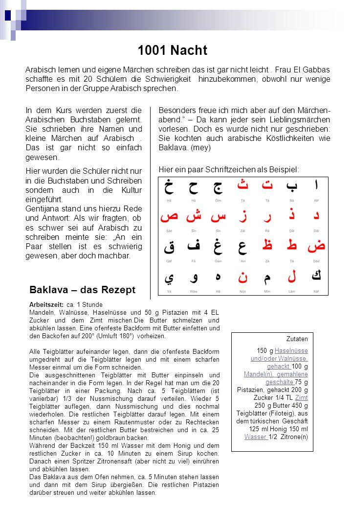 1001 Nacht Arabisch lernen und eigene Märchen schreiben das ist gar nicht leicht.