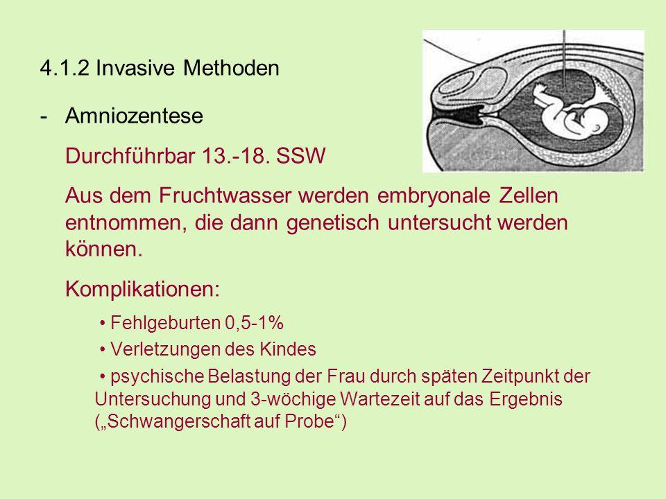 4.1.2 Invasive Methoden -Amniozentese Durchführbar 13.-18. SSW Aus dem Fruchtwasser werden embryonale Zellen entnommen, die dann genetisch untersucht