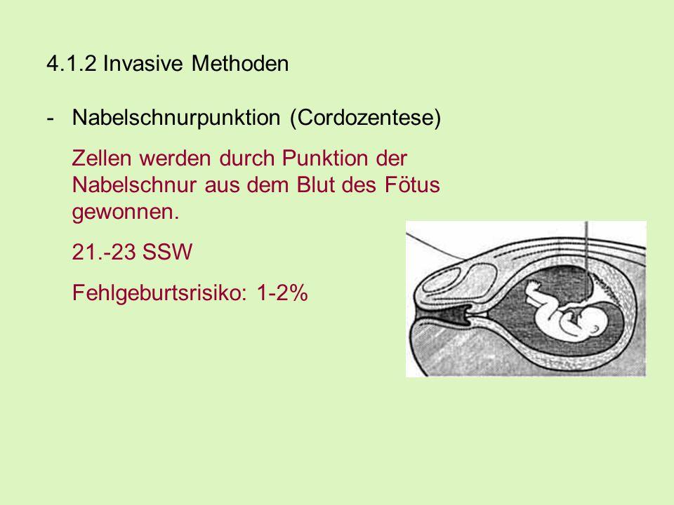 4.1.2 Invasive Methoden -Nabelschnurpunktion (Cordozentese) Zellen werden durch Punktion der Nabelschnur aus dem Blut des Fötus gewonnen. 21.-23 SSW F