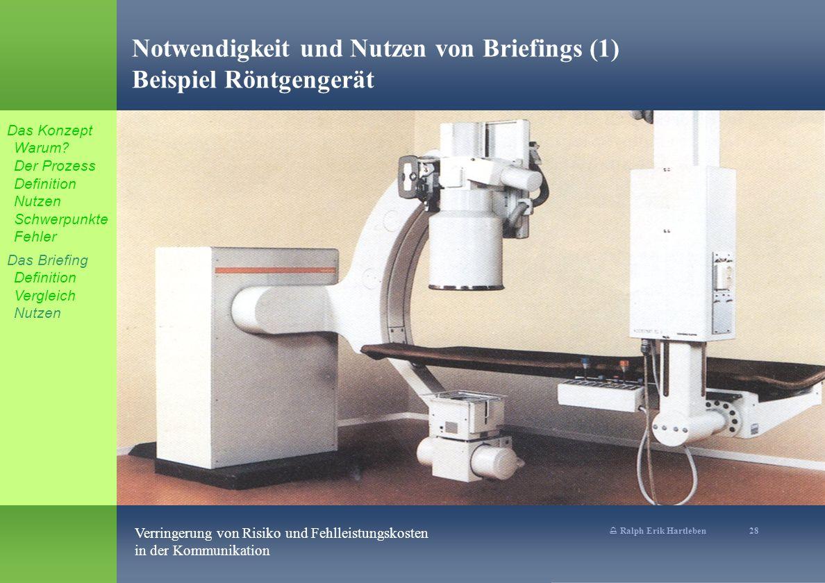 % Ralph Erik Hartleben 28 Verringerung von Risiko und Fehlleistungskosten in der Kommunikation Notwendigkeit und Nutzen von Briefings (1) Beispiel Röntgengerät Das Konzept Warum.