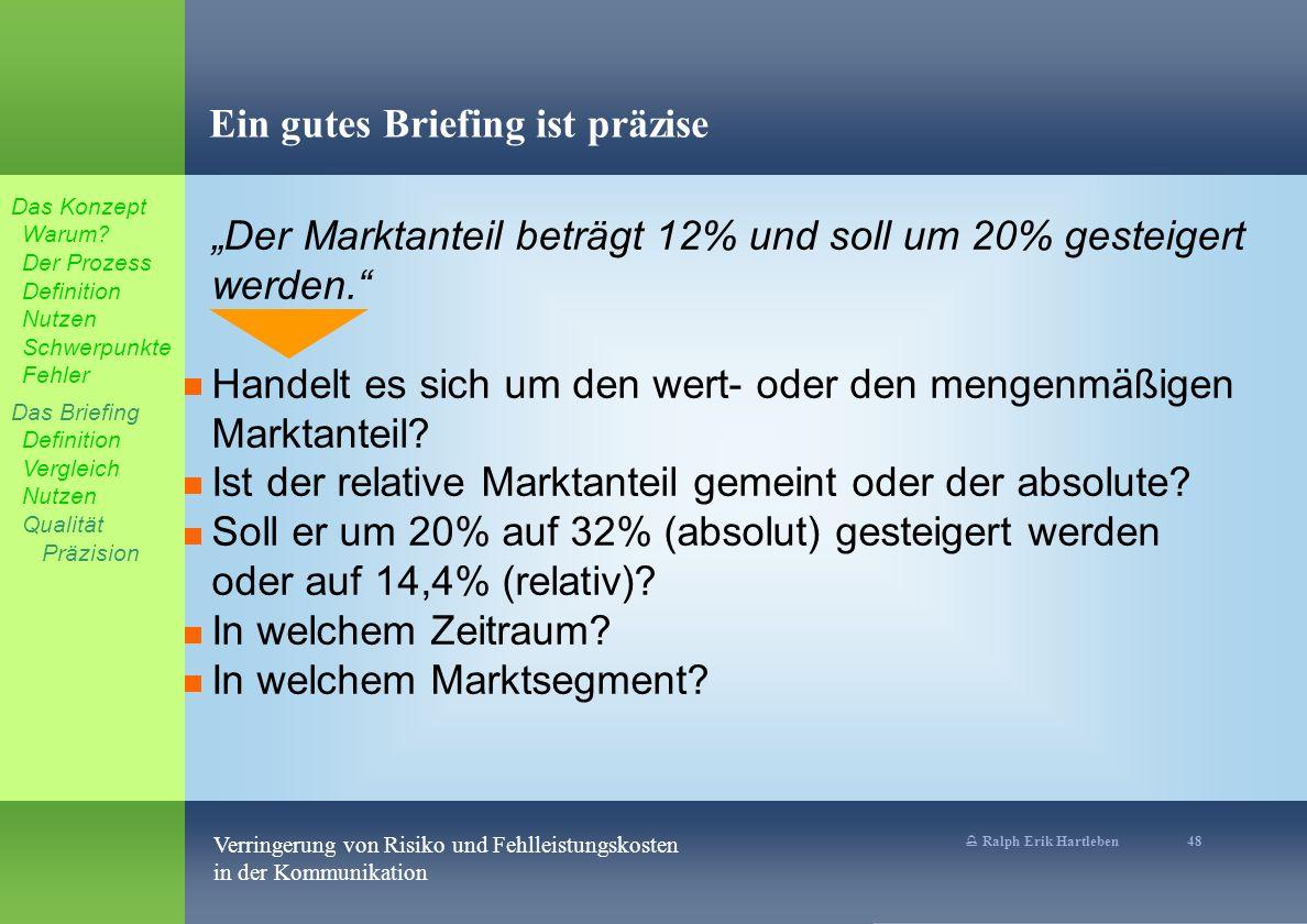% Ralph Erik Hartleben 48 Verringerung von Risiko und Fehlleistungskosten in der Kommunikation Ein gutes Briefing ist präzise Der Marktanteil beträgt 12% und soll um 20% gesteigert werden.