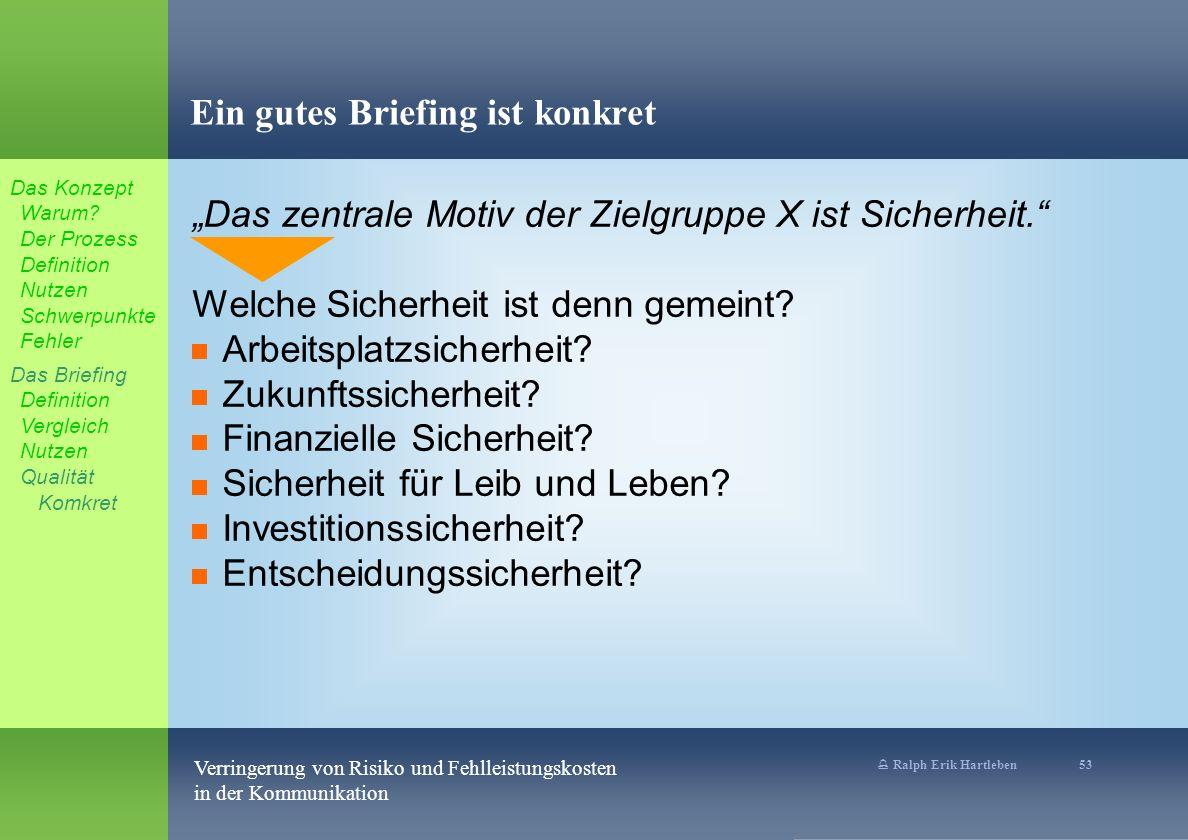 % Ralph Erik Hartleben 53 Verringerung von Risiko und Fehlleistungskosten in der Kommunikation Ein gutes Briefing ist konkret Das zentrale Motiv der Zielgruppe X ist Sicherheit.