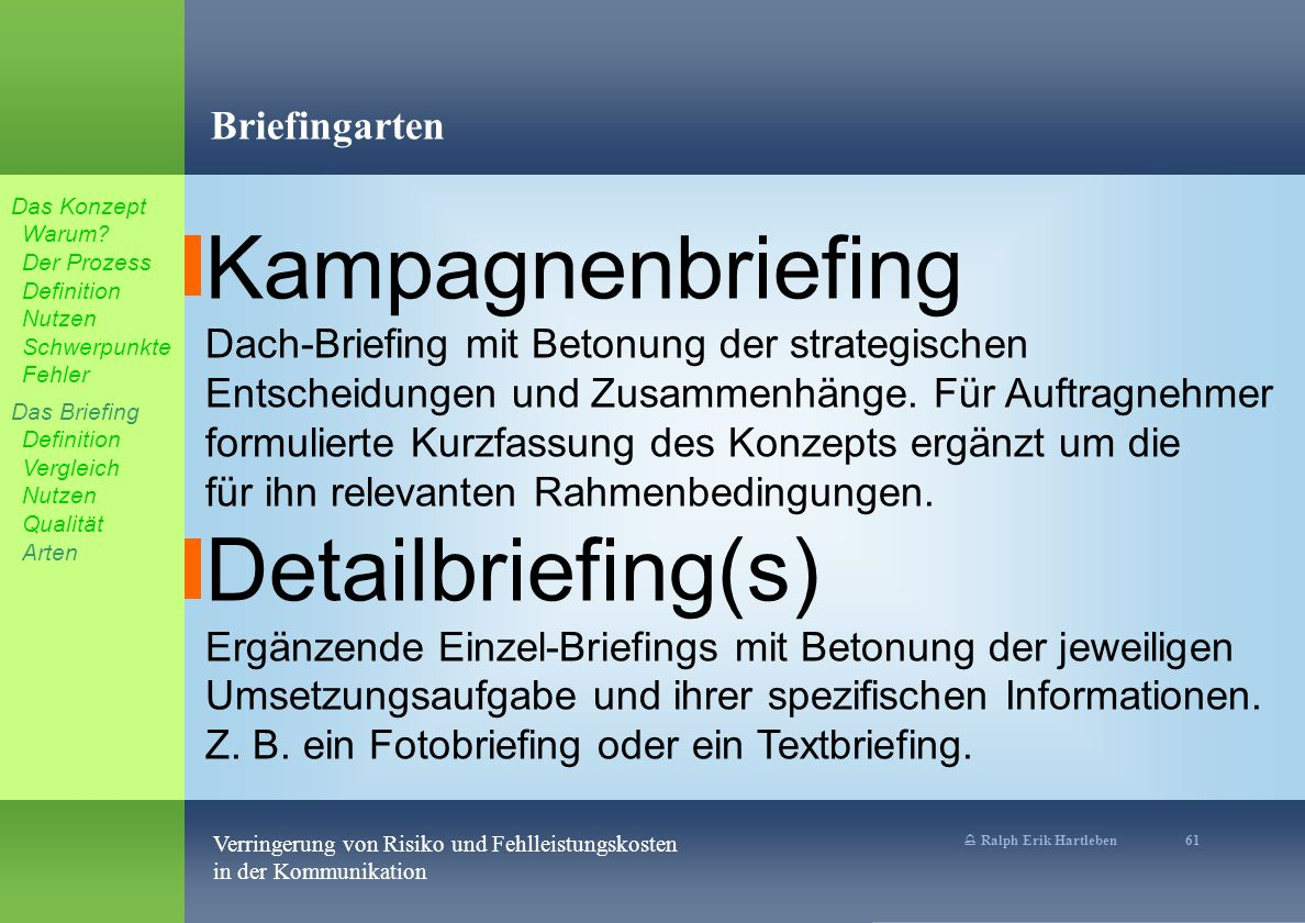 % Ralph Erik Hartleben 61 Verringerung von Risiko und Fehlleistungskosten in der Kommunikation Briefingarten Kampagnenbriefing Dach-Briefing mit Betonung der strategischen Entscheidungen und Zusammenhänge.