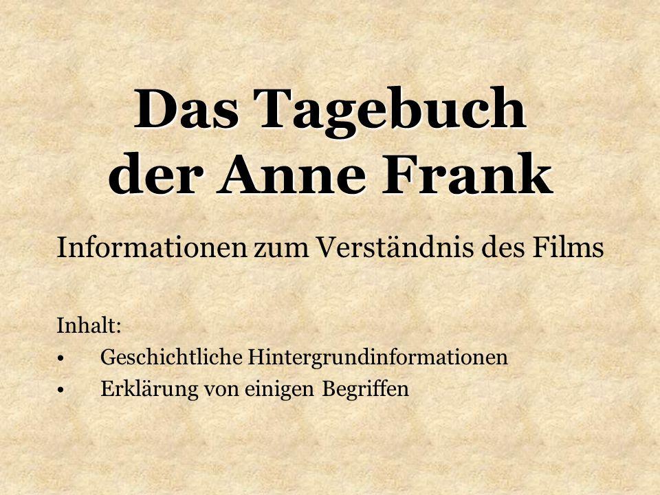 Das Tagebuch der Anne Frank - Informationen zum Film22 Einige Begriffe Tragweite, dieAusmaß, Bedeutung, Wirkung errichtenaufstellen, erbauen sich steigernhöher, größer oder besser werden Ausmaß, dasUmfang, Ausdehnung, Tragweite Vernichtungsmaschinerie, die Alle Organisationen, die zusammen arbeiten, um etwas oder jemanden zu vernichten Vernichtungsbetrieb, derOrt, Fabrik, Werk, Organisation zur Vernichtung verkennenzu spät erkennen, als harmlos bezeichnen demagogischvolksverhetzend, aufwiegelnd, zum Schlechten verführend