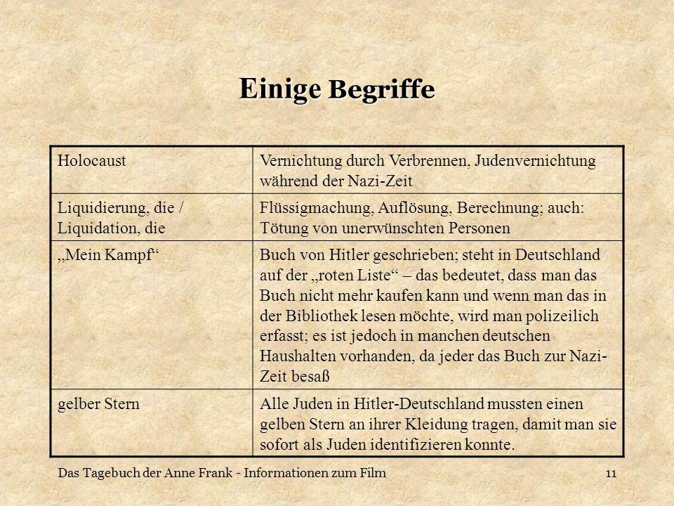 Das Tagebuch der Anne Frank - Informationen zum Film11 Einige Begriffe HolocaustVernichtung durch Verbrennen, Judenvernichtung während der Nazi-Zeit L
