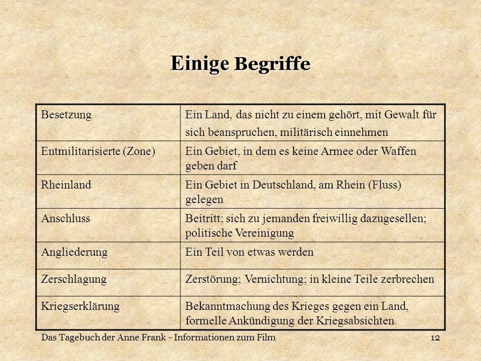 Das Tagebuch der Anne Frank - Informationen zum Film12 Einige Begriffe BesetzungEin Land, das nicht zu einem gehört, mit Gewalt für sich beanspruchen,