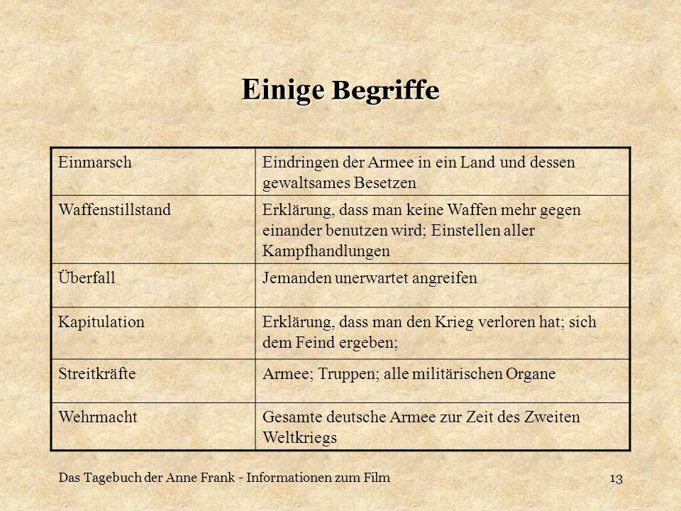 Das Tagebuch der Anne Frank - Informationen zum Film13 Einige Begriffe EinmarschEindringen der Armee in ein Land und dessen gewaltsames Besetzen Waffe