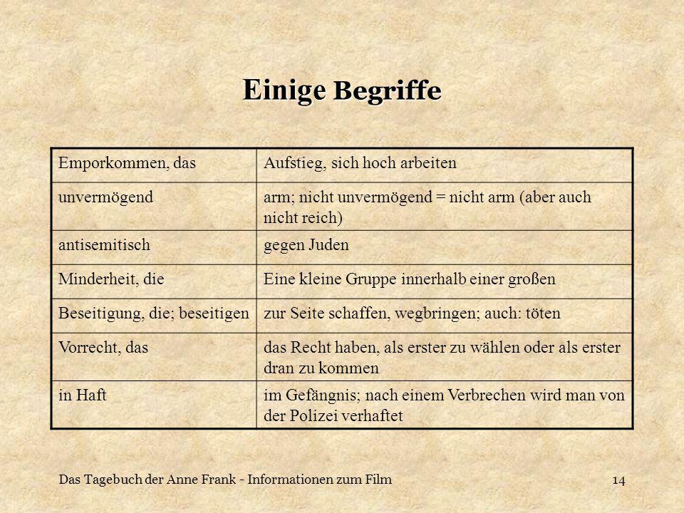 Das Tagebuch der Anne Frank - Informationen zum Film14 Einige Begriffe Emporkommen, dasAufstieg, sich hoch arbeiten unvermögendarm; nicht unvermögend