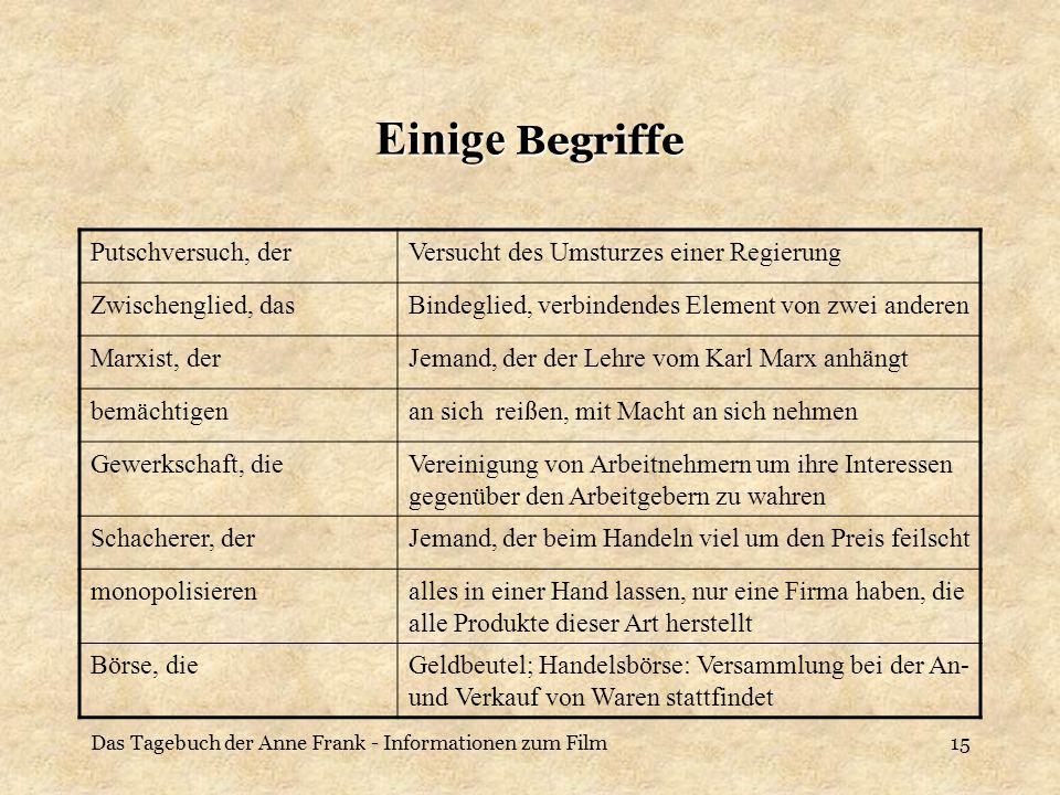 Das Tagebuch der Anne Frank - Informationen zum Film15 Einige Begriffe Putschversuch, derVersucht des Umsturzes einer Regierung Zwischenglied, dasBind