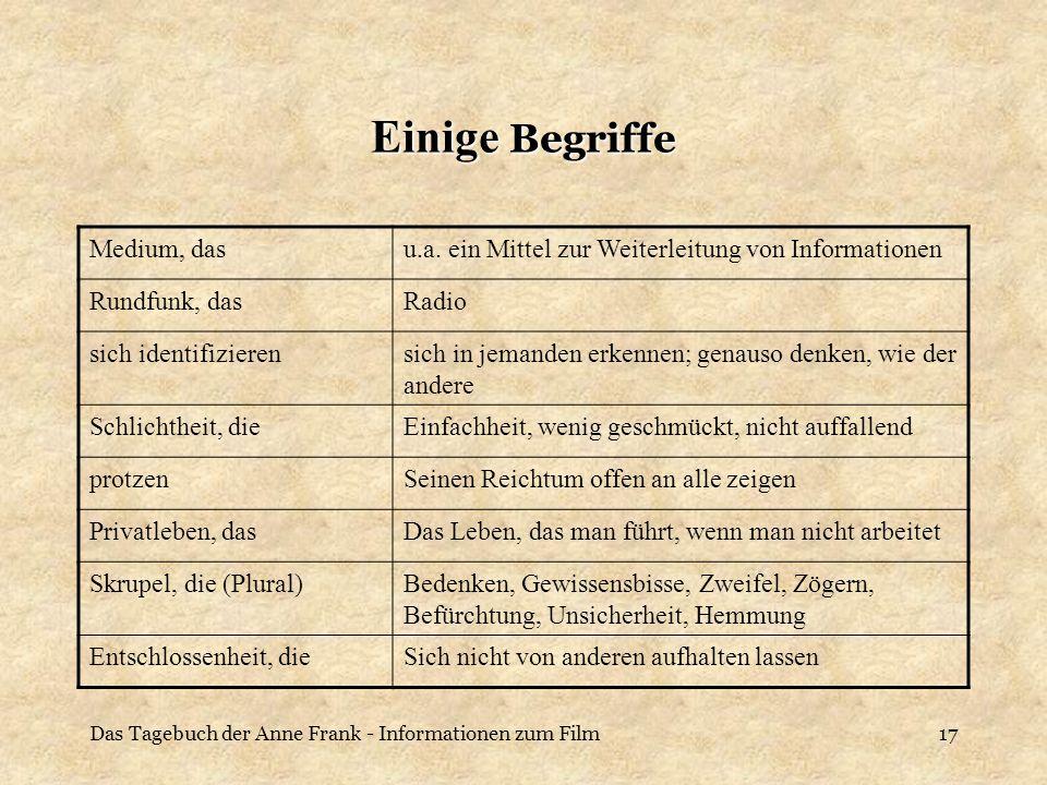 Das Tagebuch der Anne Frank - Informationen zum Film17 Einige Begriffe Medium, dasu.a. ein Mittel zur Weiterleitung von Informationen Rundfunk, dasRad