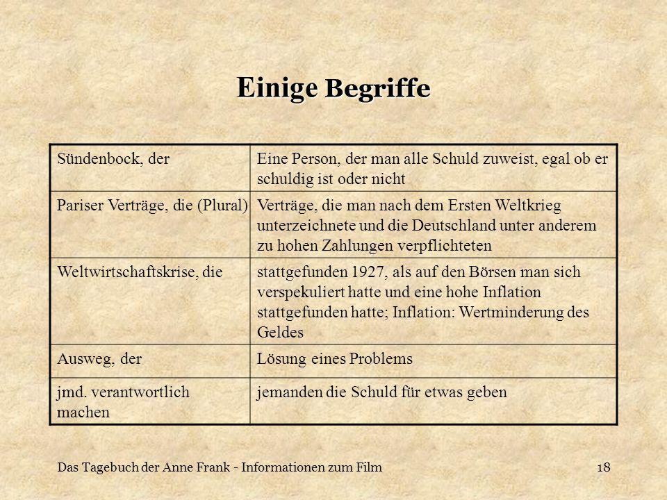 Das Tagebuch der Anne Frank - Informationen zum Film18 Einige Begriffe Sündenbock, derEine Person, der man alle Schuld zuweist, egal ob er schuldig is