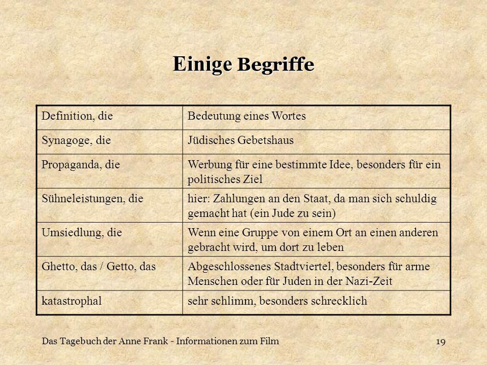 Das Tagebuch der Anne Frank - Informationen zum Film19 Einige Begriffe Definition, dieBedeutung eines Wortes Synagoge, dieJüdisches Gebetshaus Propaga