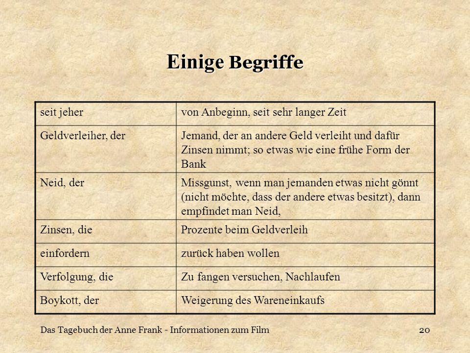 Das Tagebuch der Anne Frank - Informationen zum Film20 Einige Begriffe seit jehervon Anbeginn, seit sehr langer Zeit Geldverleiher, derJemand, der an