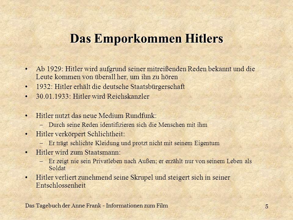 Das Tagebuch der Anne Frank - Informationen zum Film5 Das Emporkommen Hitlers Ab 1929: Hitler wird aufgrund seiner mitreißenden Reden bekannt und die