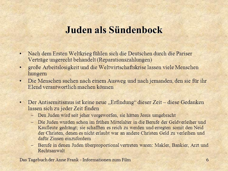 Das Tagebuch der Anne Frank - Informationen zum Film6 Juden als Sündenbock Nach dem Ersten Weltkrieg fühlen sich die Deutschen durch die Pariser Vertr