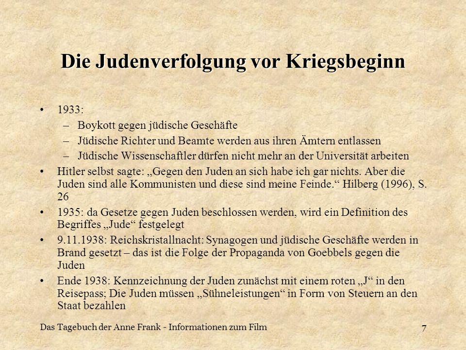 Das Tagebuch der Anne Frank - Informationen zum Film8 Die Judenverfolgung nach Kriegsbeginn Hitler plante große Umsiedlungen von Deutschen, die in Osteuropa lebten, dafür musste er Platz schaffen und beschloss so, die polnischen Juden in Ghettos zu stecken, so dass Wohnungen für diese Deutsche in Polen frei wurden.