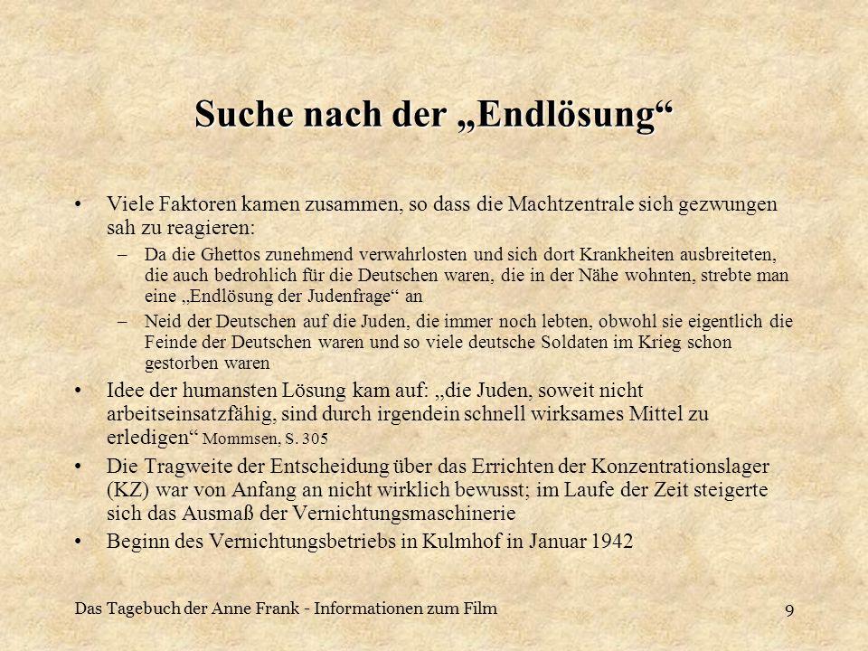 Das Tagebuch der Anne Frank - Informationen zum Film10 Die Deutschen im Rückblick Verzweiflung und Armut trieb die Deutschen dazu nach der Ursache des Elends zu suchen Die Nationalsozialisten gaben den Menschen ein Zusammengehörigkeitsgefühl und einen Grund für das Elends, der nun bekämpft werden konnte Die führenden Politiker der Zeit und das Ausland verkannten die Gefahr Durch den Druck von Nachbarn und aus Angst um das eigene Leben und das der Familie trauten sich viele nicht entgegen der Anweisungen zu handeln Hitlers Reden waren genau einstudiert und voller demagogischer Mitteln, so dass die Menschen davon beeinflusst wurden, ohne den wirklichen Sinn dahinter zu verstehen Widerstandsgruppen waren oft klein und konnten sich nicht zu einer großen zusammenschließen Es gab auch Deutsche, die Juden versteckt oder ihnen zur Flucht geholfen haben; diese konnten aber vergleichsweise nur wenigen Menschen helfen