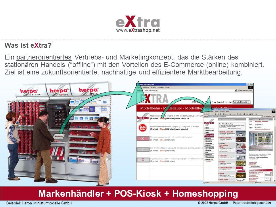 2002 Herpa GmbH – Patentrechtlich geschützt www.eXtrashop.net Beispiel: Herpa Miniaturmodelle GmbH Was ist eXtra? Ein partnerorientiertes Vertriebs- u