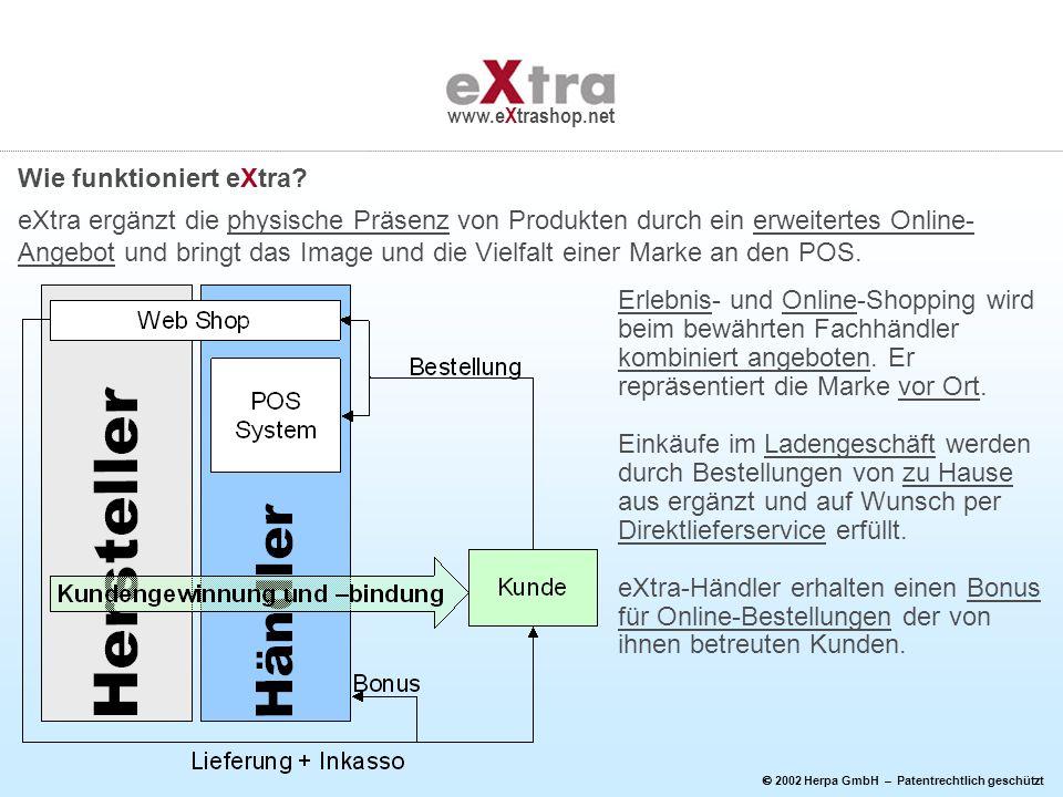 2002 Herpa GmbH – Patentrechtlich geschützt www.eXtrashop.net Erlebnis- und Online-Shopping wird beim bewährten Fachhändler kombiniert angeboten. Er r