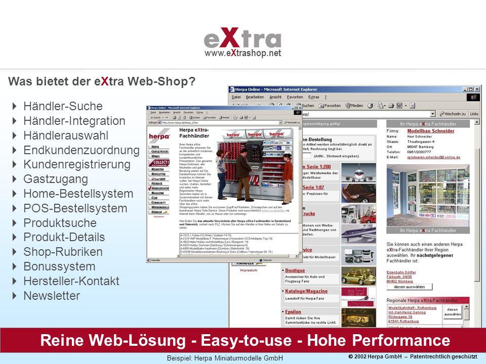 2002 Herpa GmbH – Patentrechtlich geschützt www.eXtrashop.net Was bietet der eXtra Web-Shop? Händler-Suche Händler-Integration Händlerauswahl Endkunde