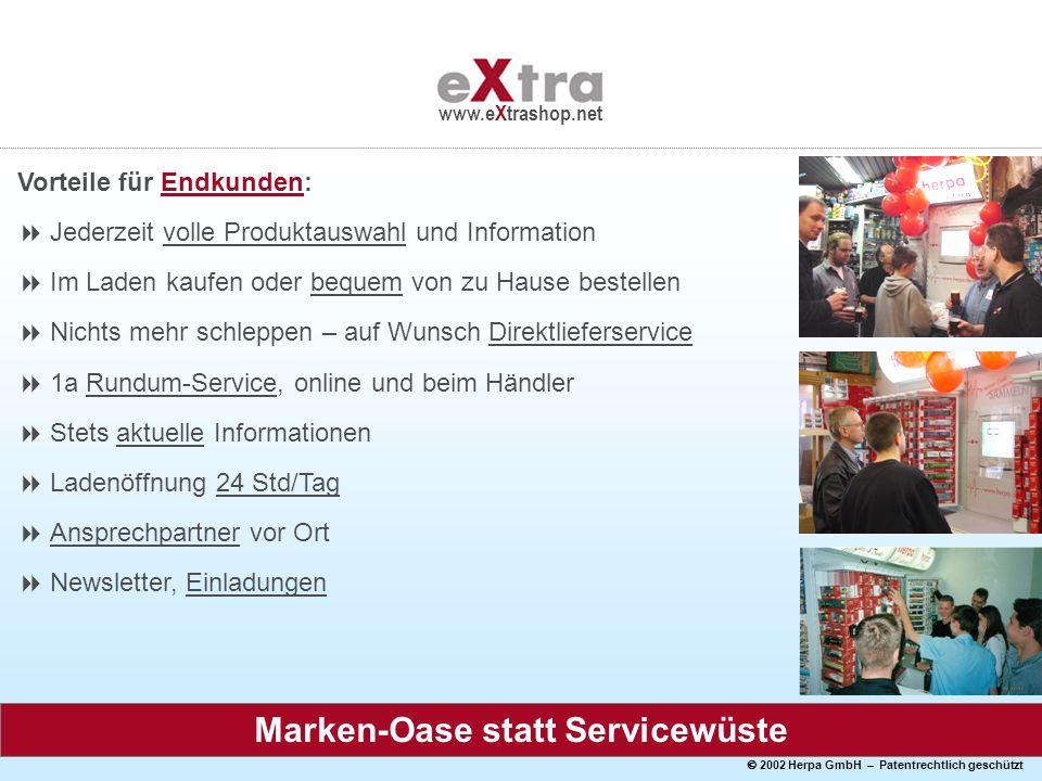 2002 Herpa GmbH – Patentrechtlich geschützt www.eXtrashop.net Vorteile für Endkunden: Jederzeit volle Produktauswahl und Information Im Laden kaufen o