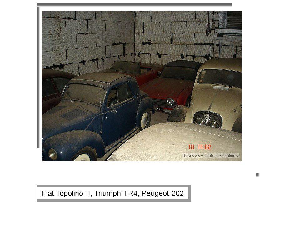 Fiat Topolino II, Triumph TR4, Peugeot 202