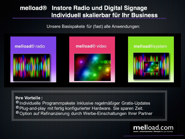 Unsere Basispakete für (fast) alle Anwendungen: melload® radio melload® video melload®system Ihre Vorteile : Individuelle Programmpakete inklusive reg