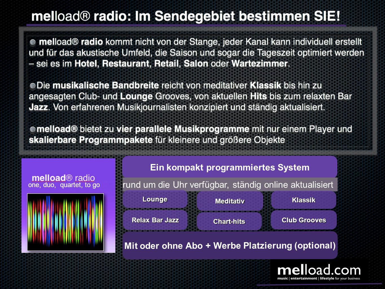 Ein kompakt programmiertes System rund um die Uhr verfügbar, ständig online aktualisiert Meditativ Club Grooves Chart-hits Lounge Relax Bar Jazz Klass