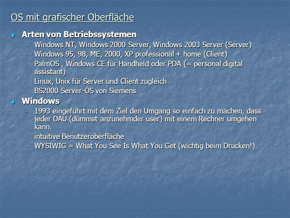 OS mit grafischer Oberfläche Arten von Betriebssystemen Arten von Betriebssystemen - Windows NT, Windows 2000 Server, Windows 2003 Server (Server) - W
