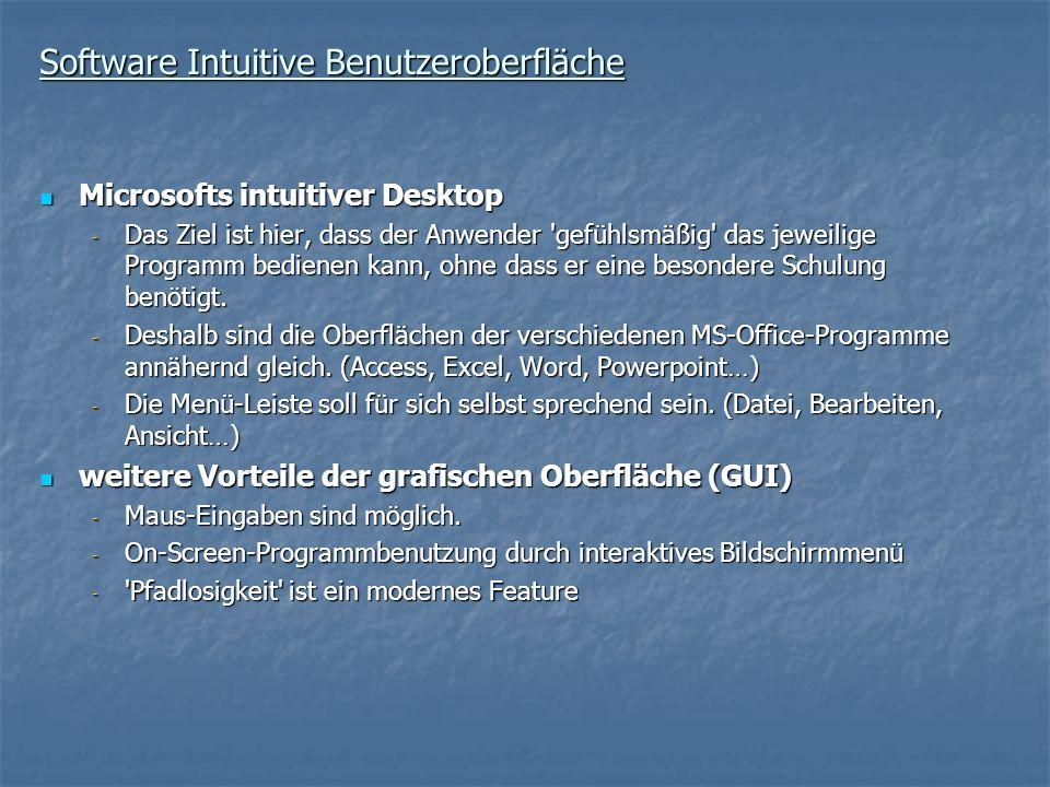 Software Intuitive Benutzeroberfläche Microsofts intuitiver Desktop Microsofts intuitiver Desktop - Das Ziel ist hier, dass der Anwender 'gefühlsmäßig