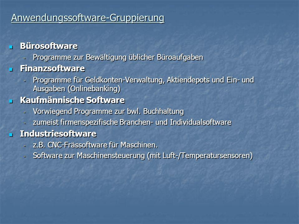 Anwendungssoftware-Gruppierung Bürosoftware Bürosoftware - Programme zur Bewältigung üblicher Büroaufgaben Finanzsoftware Finanzsoftware - Programme f