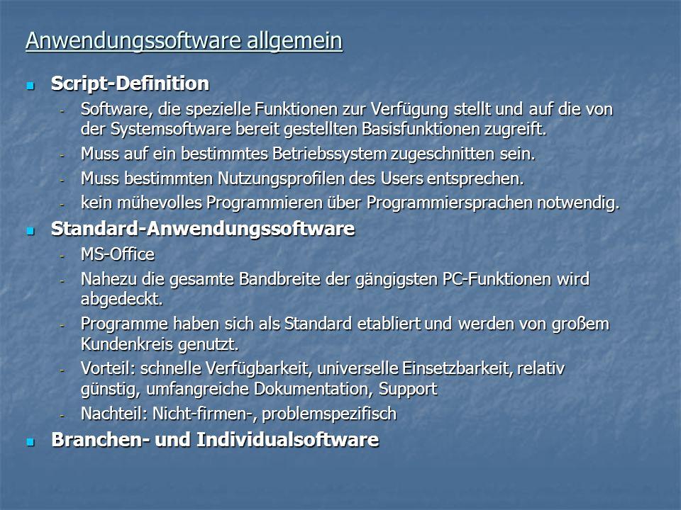 Anwendungssoftware allgemein Script-Definition Script-Definition - Software, die spezielle Funktionen zur Verfügung stellt und auf die von der Systems
