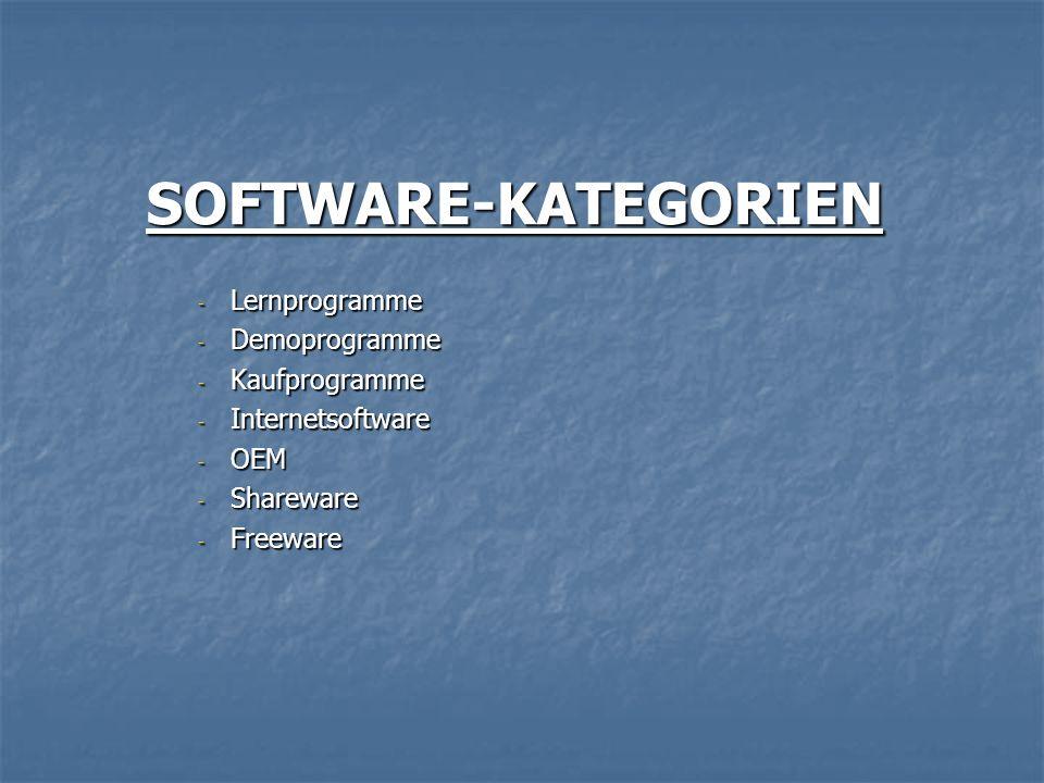SOFTWARE-KATEGORIEN - Lernprogramme - Demoprogramme - Kaufprogramme - Internetsoftware - OEM - Shareware - Freeware