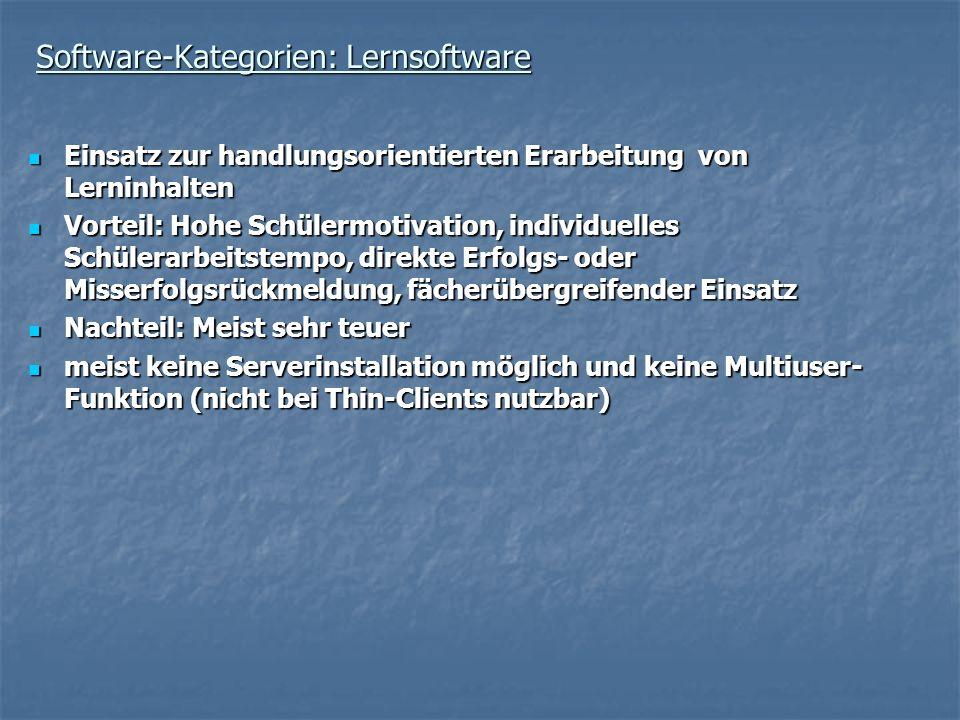 Software-Kategorien: Lernsoftware Einsatz zur handlungsorientierten Erarbeitung von Lerninhalten Einsatz zur handlungsorientierten Erarbeitung von Ler