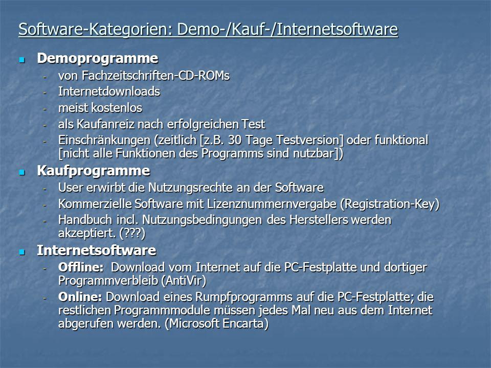 Software-Kategorien: Demo-/Kauf-/Internetsoftware Demoprogramme Demoprogramme - von Fachzeitschriften-CD-ROMs - Internetdownloads - meist kostenlos -