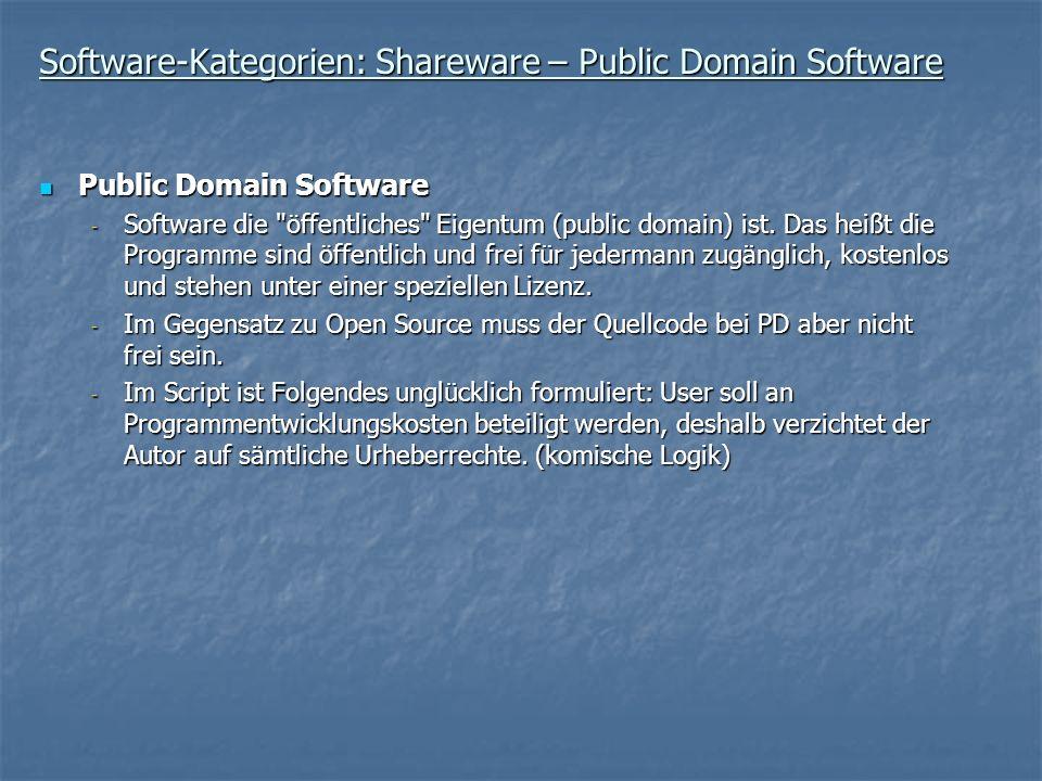 Software-Kategorien: Shareware – Public Domain Software Public Domain Software Public Domain Software - Software die