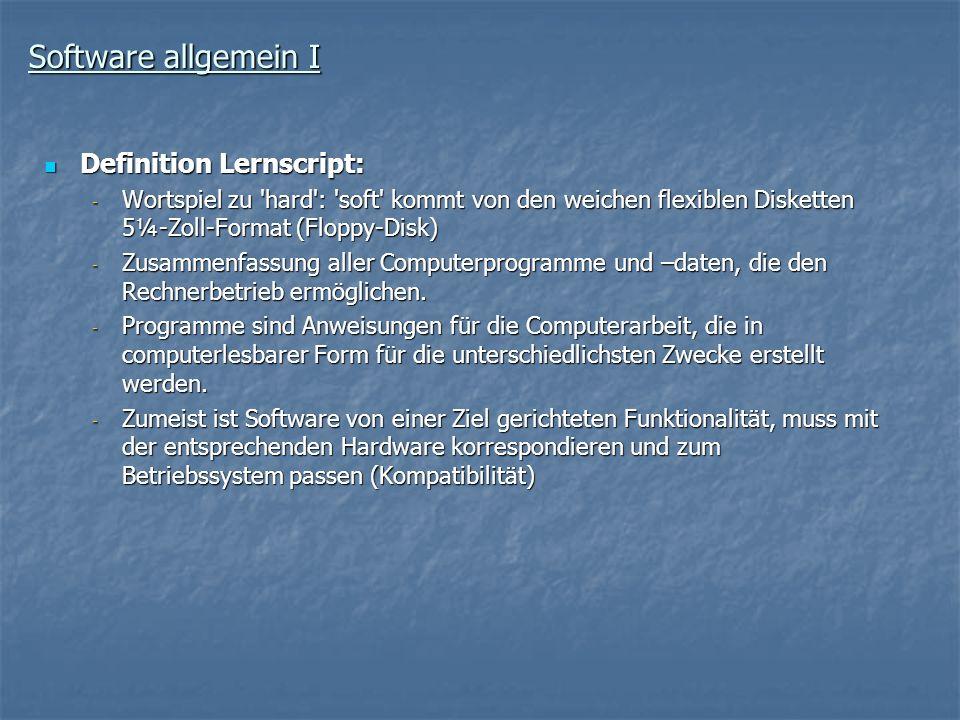 Software allgemein I Definition Lernscript: Definition Lernscript: - Wortspiel zu 'hard': 'soft' kommt von den weichen flexiblen Disketten 5¼-Zoll-For