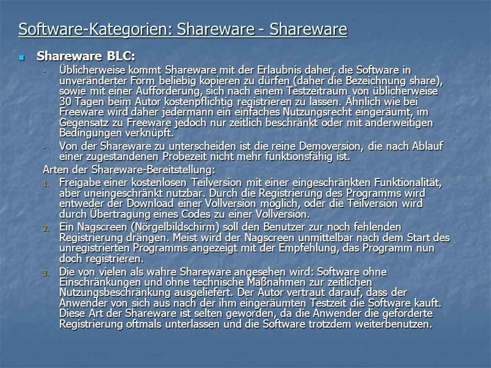 Software-Kategorien: Shareware - Shareware Shareware BLC: Shareware BLC: - Üblicherweise kommt Shareware mit der Erlaubnis daher, die Software in unve