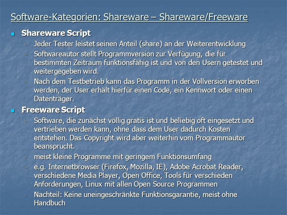Software-Kategorien: Shareware – Shareware/Freeware Shareware Script Shareware Script - Jeder Tester leistet seinen Anteil (share) an der Weiterentwic