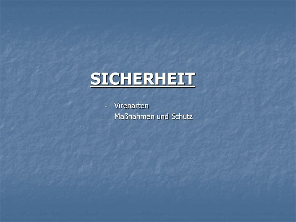 SICHERHEIT - Virenarten - Maßnahmen und Schutz