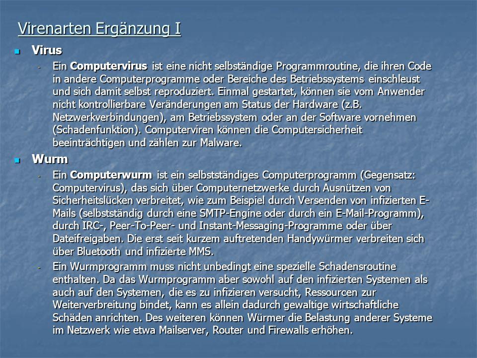 Virenarten Ergänzung I Virus Virus - Ein Computervirus ist eine nicht selbständige Programmroutine, die ihren Code in andere Computerprogramme oder Be