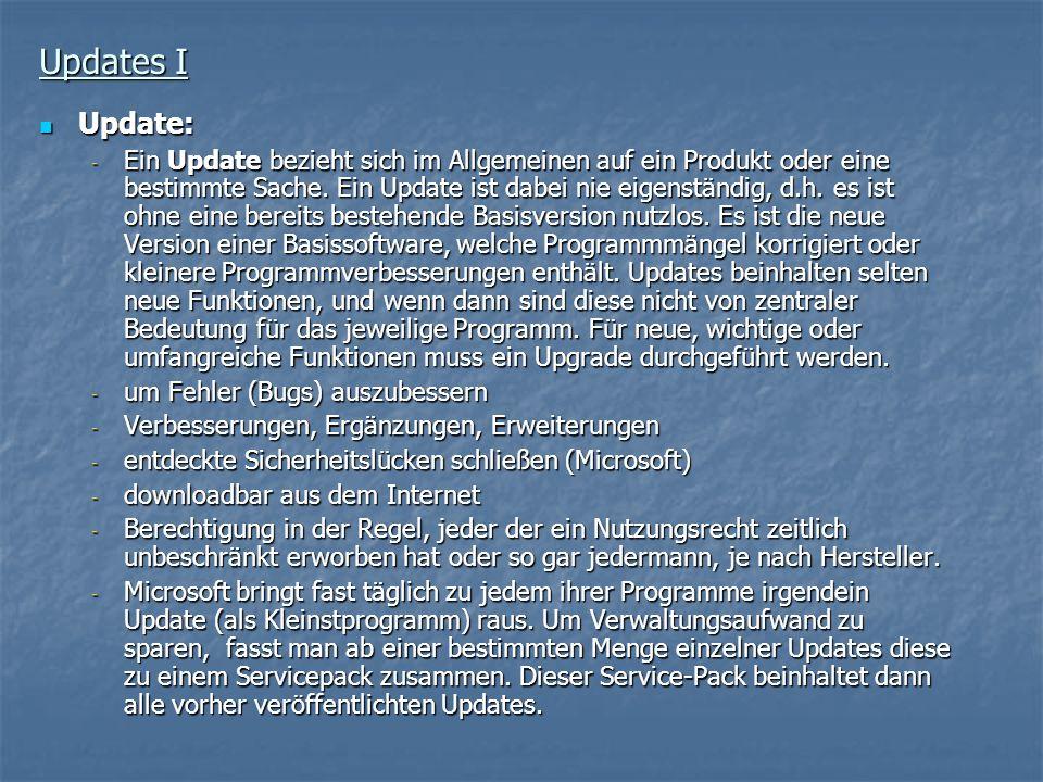 Updates I Update: Update: - Ein Update bezieht sich im Allgemeinen auf ein Produkt oder eine bestimmte Sache. Ein Update ist dabei nie eigenständig, d