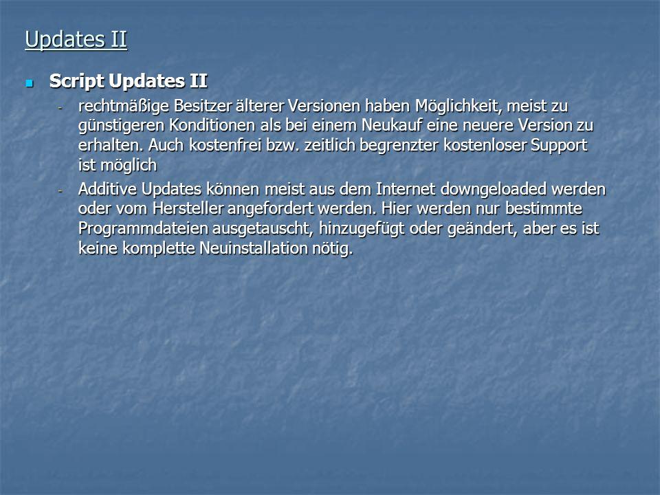 Updates II Script Updates II Script Updates II - rechtmäßige Besitzer älterer Versionen haben Möglichkeit, meist zu günstigeren Konditionen als bei ei
