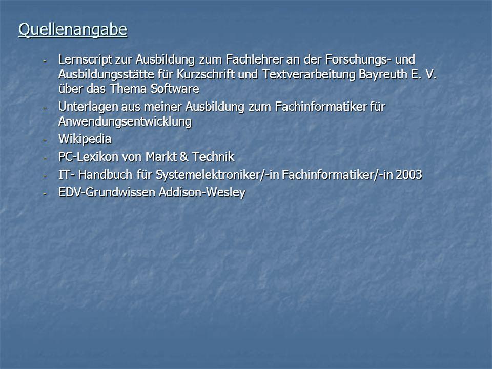 Quellenangabe - Lernscript zur Ausbildung zum Fachlehrer an der Forschungs- und Ausbildungsstätte für Kurzschrift und Textverarbeitung Bayreuth E. V.