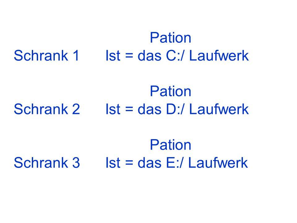 Pation Schrank 1 Ist = das C:/ Laufwerk Pation Schrank 2 Ist = das D:/ Laufwerk Pation Schrank 3 Ist = das E:/ Laufwerk
