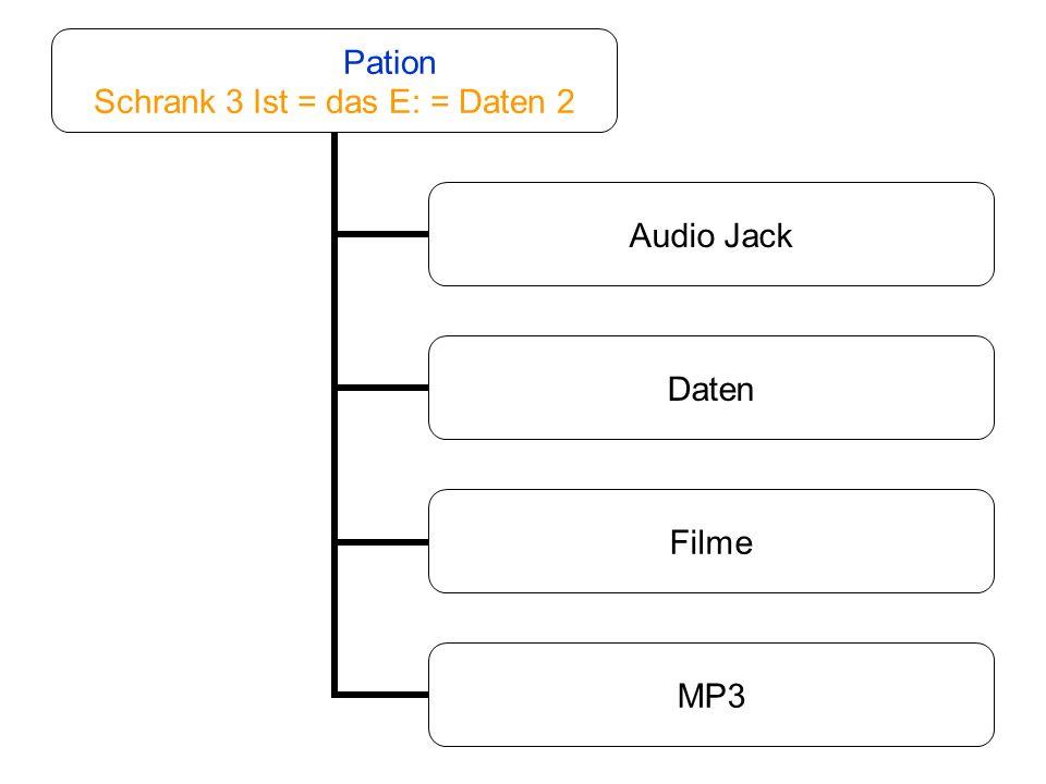Pation Schrank 3 Ist = das E: = Daten 2 Audio Jack Daten Filme MP3